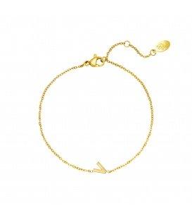 Goudkleurige armband met initiaal V