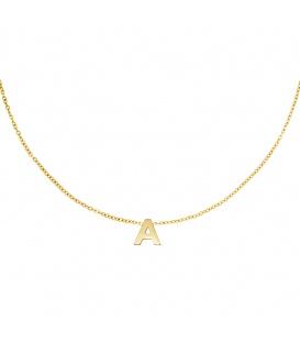 Goudkleurige halsketting met initiaal A
