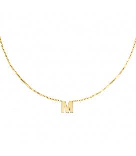 Goudkleurige halsketting met initiaal M
