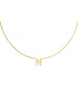 Goudkleurige halsketting met initiaal N