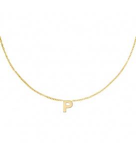 Goudkleurige halsketting met initiaal P
