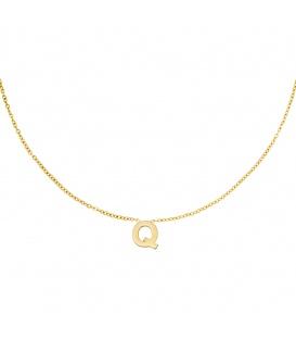 Goudkleurige halsketting met initiaal Q