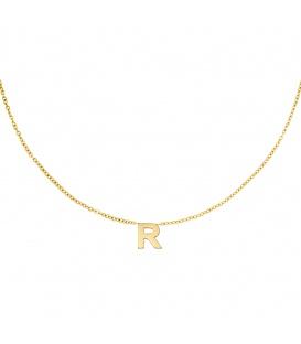 Goudkleurige halsketting met initiaal R