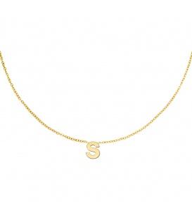 Goudkleurige halsketting met initiaal S