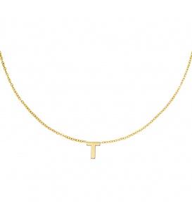 Goudkleurige halsketting met initiaal T