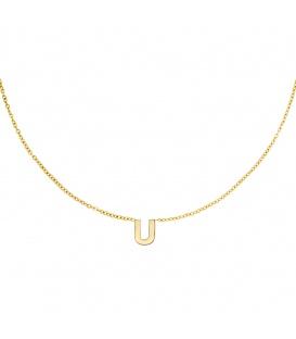 Goudkleurige halsketting met initiaal U