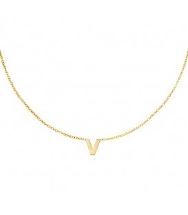 Goudkleurige halsketting met initiaal V