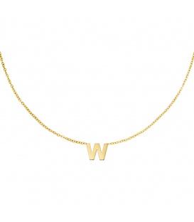Goudkleurige halsketting met initiaal W