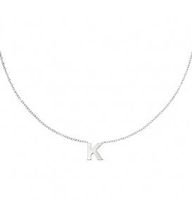 Zilverkleurige halsketting met initiaal K