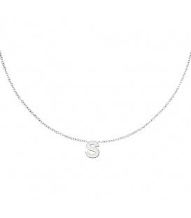 Zilverkleurige halsketting met initiaal S