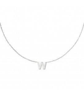 Zilverkleurige halsketting met initiaal W