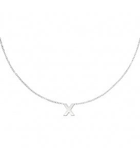 Zilverkleurige halsketting met initiaal X