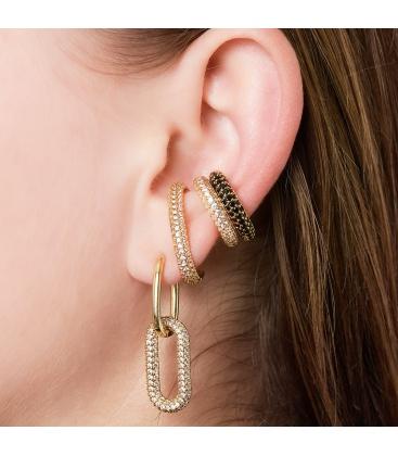 Goudkleurige earcuff met paarse zirkoonsteentjes