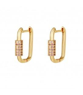 Goudkleurige vergulde oorbellen met paarse zirkonia steentjes
