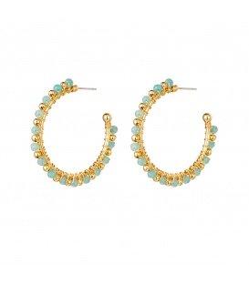 Blauw met goudkleurige kralen oorbellen