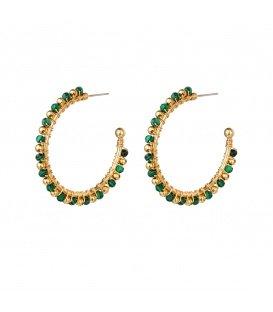 Groen met goudkleurige kralen oorbellen