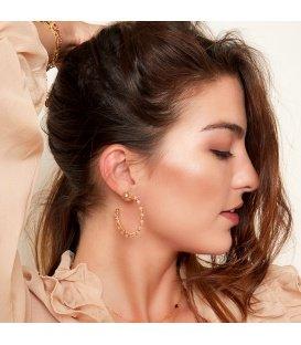 Roze met goudkleurige kralen oorbellen