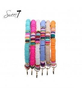 Gekleurde armband 6 strengs van rubberen platte kralen