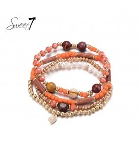 Oranje gekleurde 4 strengs armband
