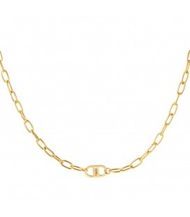 Goudkleurige halsketting met in elkaar grijpende kettingen en balletjes