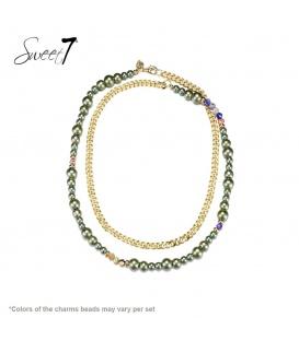 Groene lange murano glaskralen halsketting