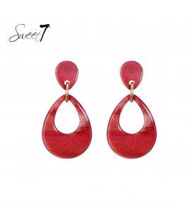 Rode gekleurde oorbellen met een ovale hanger
