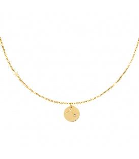 Goudkleurige halsketting met sterrenbeeld ram