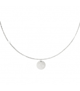 Zilverkleurige halsketting met sterrenbeeld weegschaal