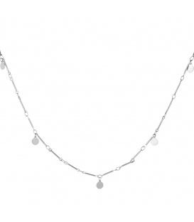 Zilverkleurige lange halsketting met platte cirkels