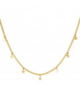 Goudkleurige lange halsketting met kleine sterretjes