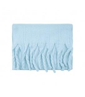 Blauwe warme winter sjaal met franjes