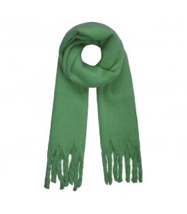 Leuke groene wintersjaal met gedraaide franjes