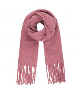 Stijlvolle roze wintersjaal met franjes