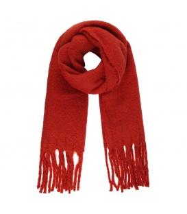 Stijlvolle rode wintersjaal met franjes