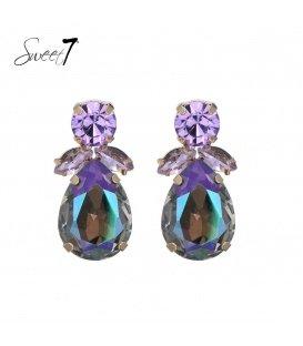 Paarse oorhangers met kristallen stenen in de hanger en oorstukje