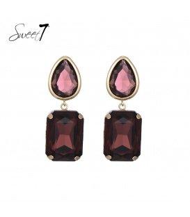 Rood,paarse oorhangers met een glaskralen steen en oorstukje