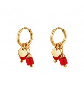 Goudkleurige oorbellen met twee rode stenen als bedel
