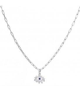 Zilverkleurige halsketting met een gedetailleerde oog als hanger