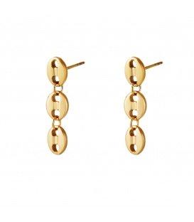Goudkleurige oorhangers met knoopsgatachtige vorm als hanger