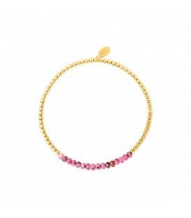 Goudkleurige armband met paarse natuurstenen kralen