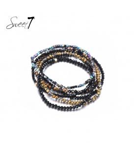 Zwart gekleurde glaskralen armband van meerder strengen