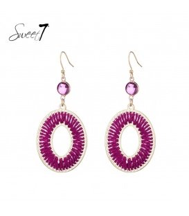 Paars roze oorhangers met geweven draad en steentje