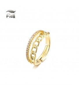 Goudkleurig ring met zirconia steentjes