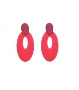 Roze langwerpige ovale oorbellen met steker