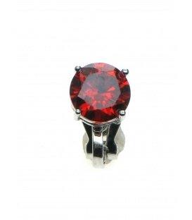 Oorclips met helder rode Zirconia strass steen in zilverkleurige zetting