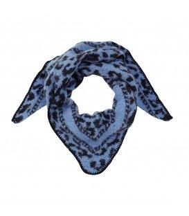 Zachte blauwe wintersjaal met panterprint