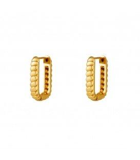 Goudkleurige baguette rechthoekige oorbellen klein
