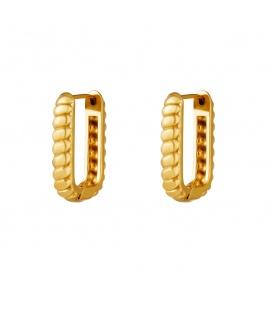 Goudkleurige baguette rechthoekige oorbellen groot