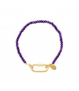 Goudkleurige armband met paarse steentjes en rechthoekige sluiting