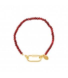 Goudkleurige armband met rode steentjes en rechthoekige sluiting